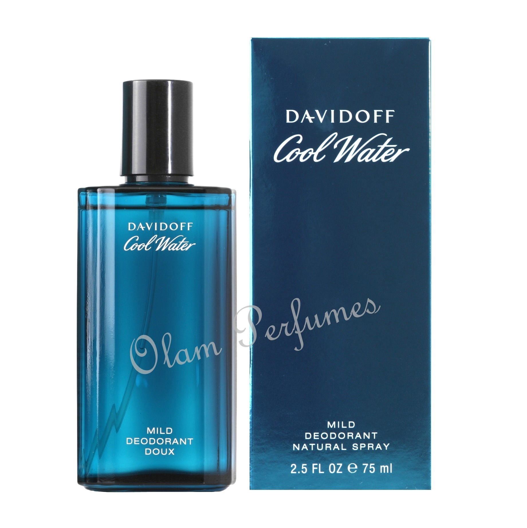 Davidoff Cool Water For Men Mild Deodorant Spray 2.5oz 75ml