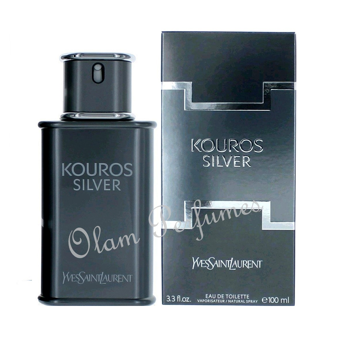 YSL Yves Saint Laurent Kouros Silver Eau de Toilette Spray 3.3oz